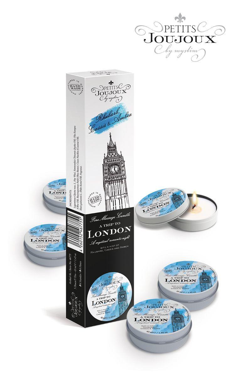 Массажные масла и свечи: Набор из 5 свечей Petits Joujoux London с ароматом ревеня, амбры и чёрной смородины