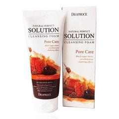 Deoproce Natural Perfect Solution Cleansing Foam Pore Care - Пенка-скраб для умывания с бурым сахаром и мёдом