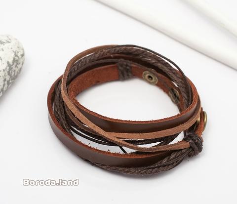 BL268 Мужской браслет из натуральной кожи и текстиля. Длина регулируется