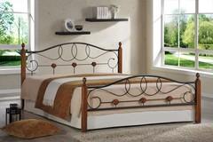 Кровать АТ-822 200x140 (Double Bed) Черный/Красный дуб