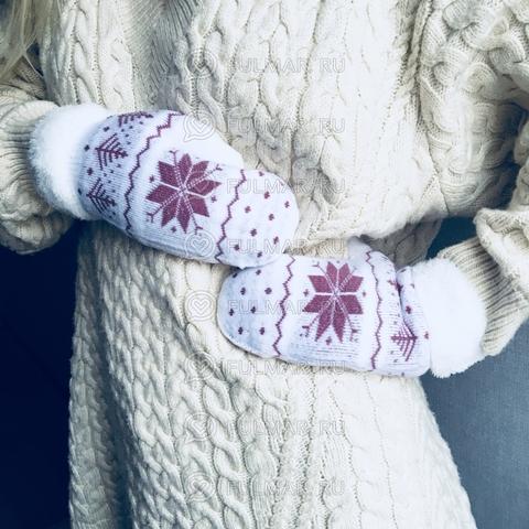 Варежки шерстяные вязаные со снежинками розовая (цвет: белый)