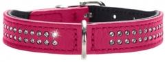 Ошейник для собак Hunter Diamond petit 27 (20-24 см) кожа 2 ряда страз розовый