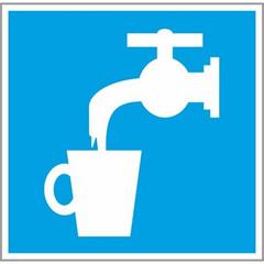Знак безопасности D02 Питьевая вода (плёнка,200х200)