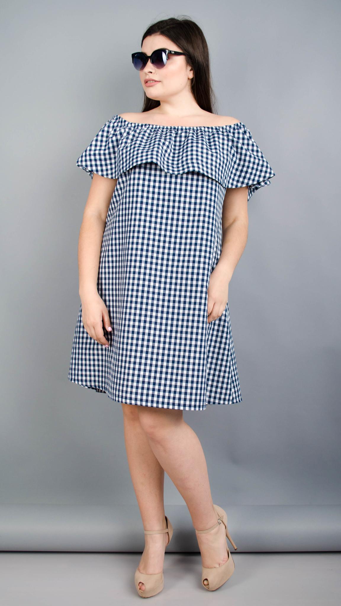Балі. Літнє плаття плюс сайз. Синя клітинка.