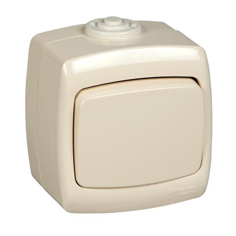 Выключатель/переключатель одноклавишный на 2 направления(проходной) IP44 - 6 А 250 В. Цвет Слоновая кость. Schneider Electric(Шнайдер электрик). Rondo(Рондо). VA66-102B-SI