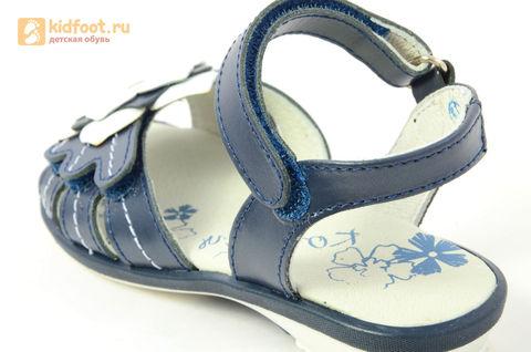 Детские босоножки Котофей 522059-21 из натуральной кожи, для девочки, синие. Изображение 12 из 13.