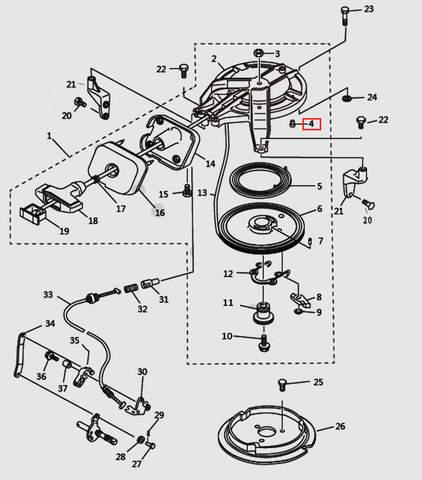 Опора стартера для лодочного мотора T9.8 Sea-PRO (7-4)