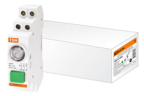 Выключатель кнопочный с индикацией ВКИ-47 зеленый (LED) 2НО;1НЗ AC/DC TDM