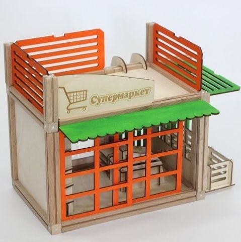 Woodjo Supermarket 57 деталей