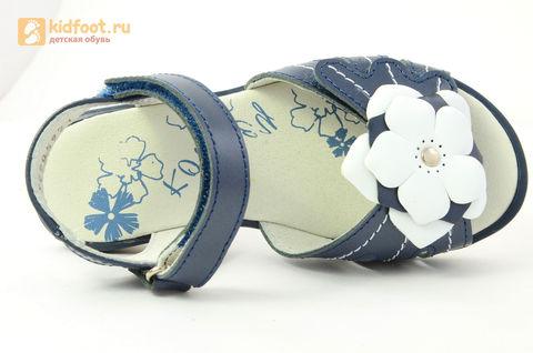 Детские босоножки Котофей 522059-21 из натуральной кожи, для девочки, синие. Изображение 13 из 13.