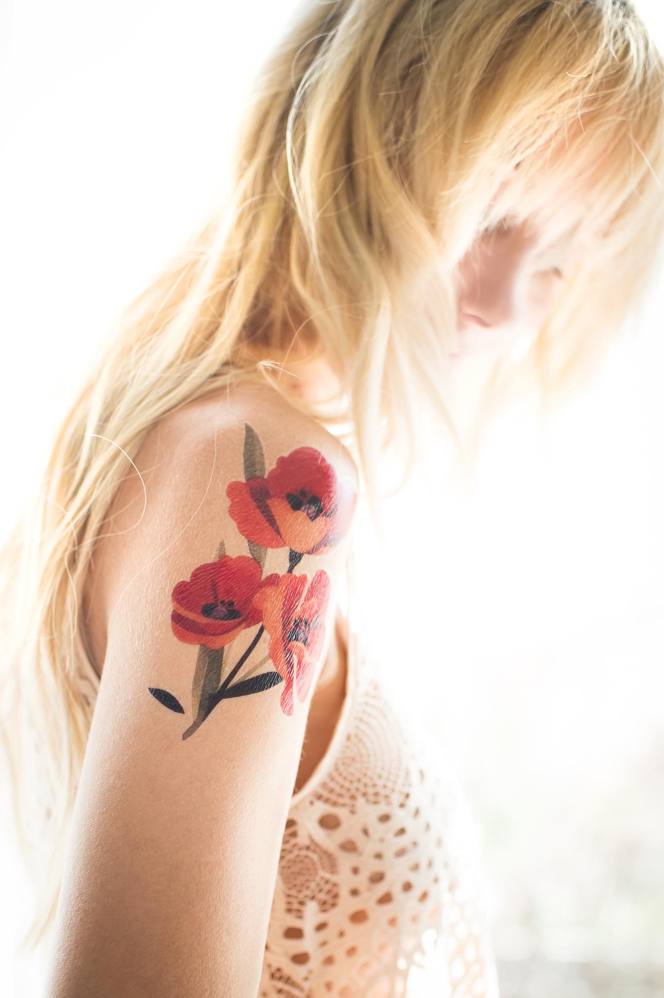Переводная татуировка Poppies