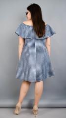 Бали. Летнее платье плюс сайз. Синяя клетка.