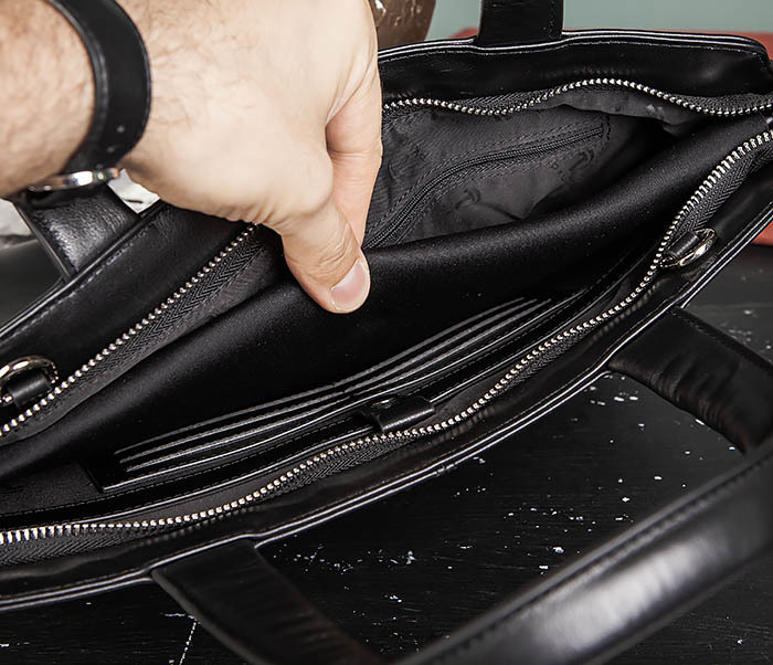 BAG485-1 Мужская деловая сумка из гладкой натуральной кожи фото 16