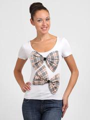 009644 футболка женская, бело-коричневая