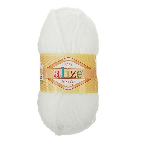 Пряжа Softy (55 белый ), 115 м, 50 г