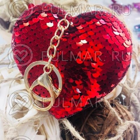 Сердце брелок полностью в пайетках меняет цвет Красный-Серебристый