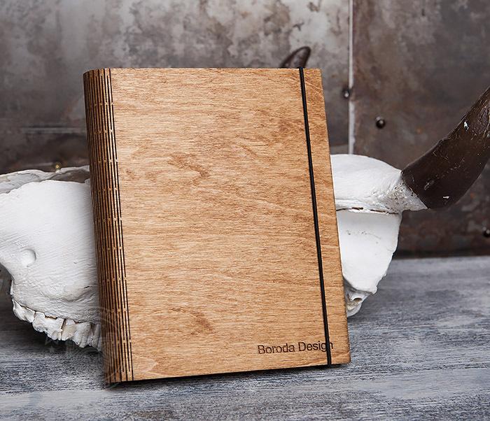 BC133-3 Деревянный блокнот ручной работы со сменным блоком фото 01