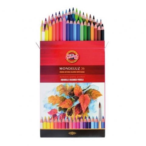Набор акварельных цветных карандашей Koh-I-Noor 3719 Mondeluz в картонной коробке, 36 цветов