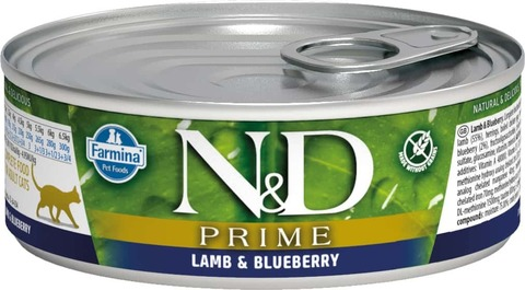 Консервы Famina N&D Cat Prime Lamb & Blueberry для кошек