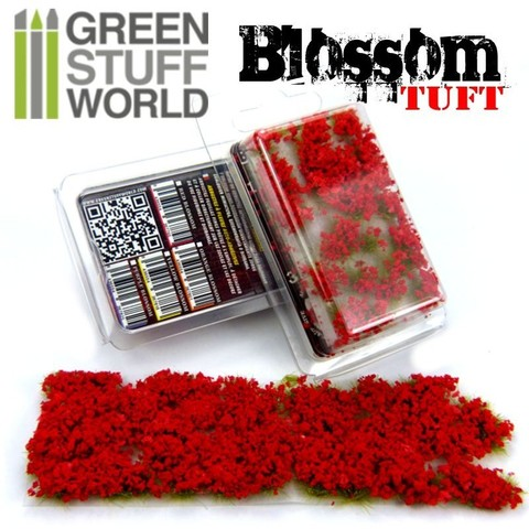 Blossom TUFTS - 6mm self-adhesive - RED Flowers