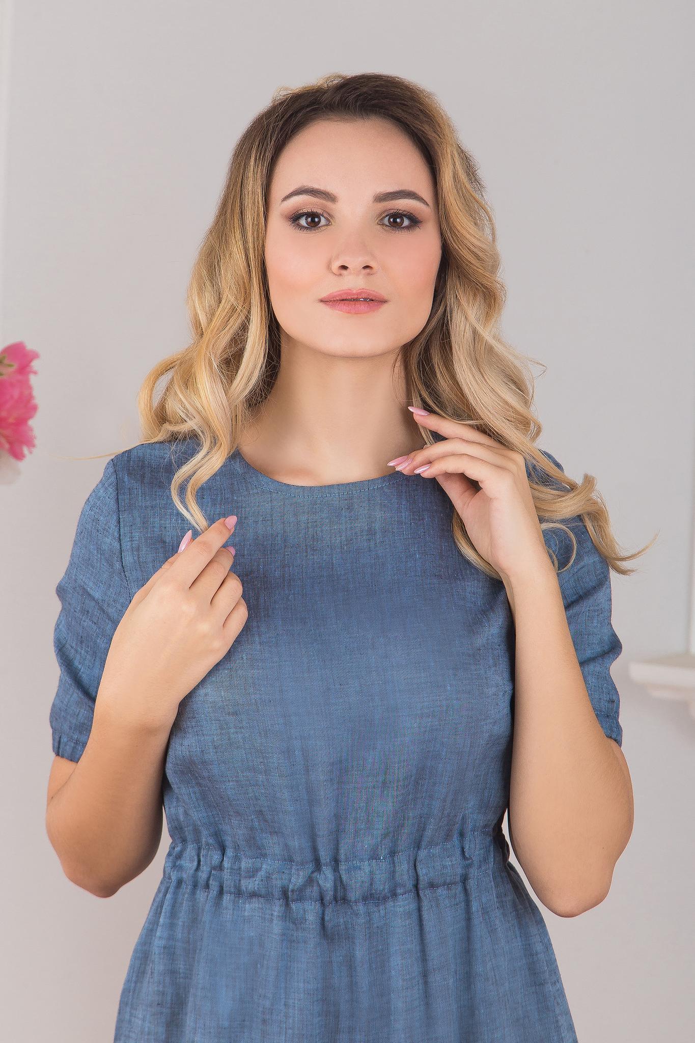 Приближенный фрагмент Платье льняное Синий меланж