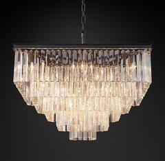 1920s Odeon Clear Glass Fringe Square 5-Tier Chandelier