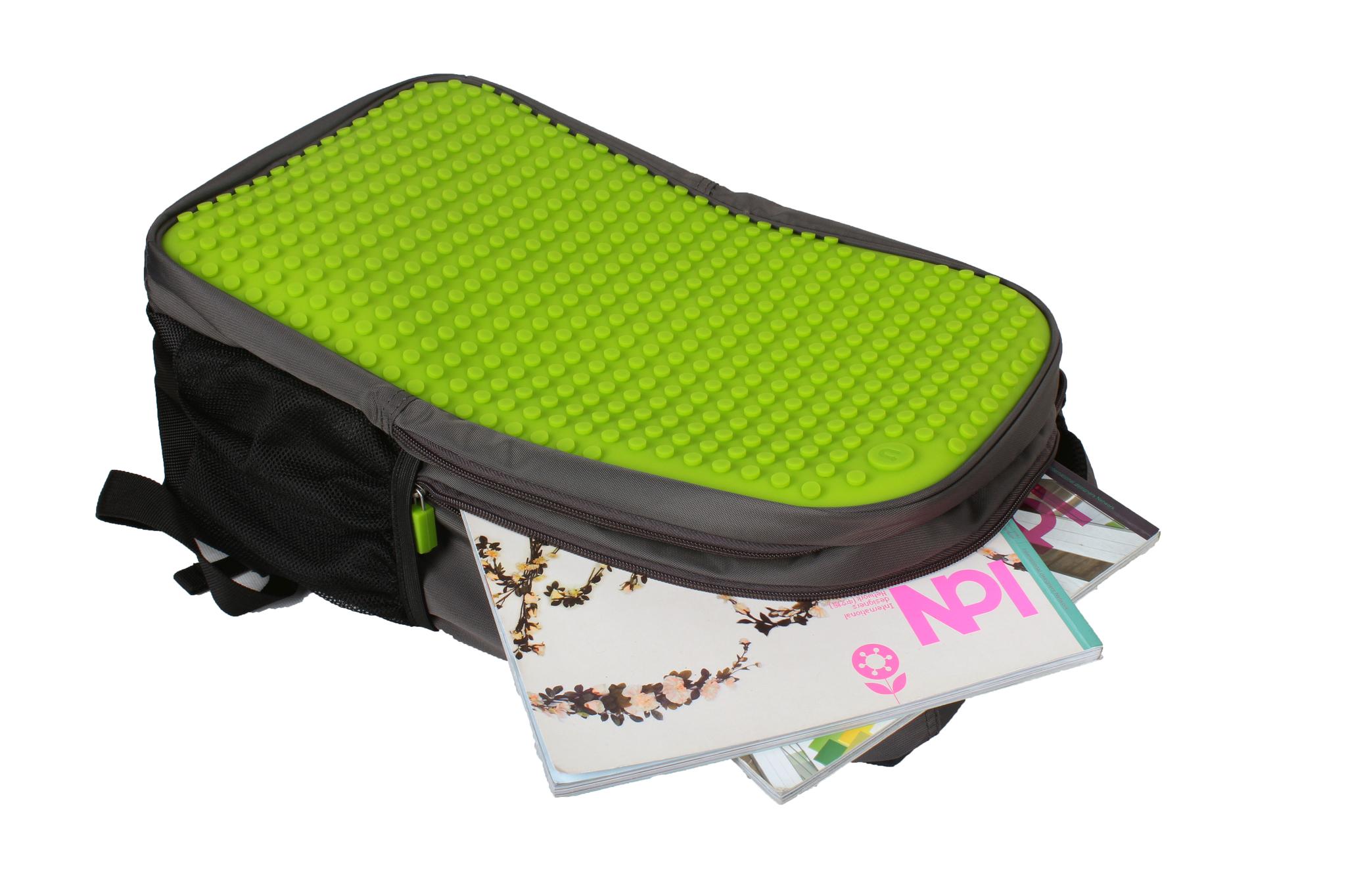 Школьный пиксельный рюкзак Full Screen зеленый с предметами