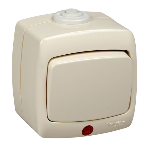 Выключатель/переключатель одноклавишный с подсветкой на 2 направления(проходной) IP44 - 10 А 250 В. Цвет Слоновая кость. Schneider Electric(Шнайдер электрик). Rondo(Рондо). VA610-129B-SI