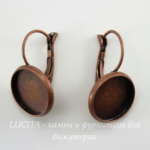Швензы с французским замком с сеттингом для кабошона 14 мм, 25х16 мм (цвет - античная медь)