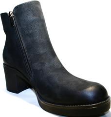 Женские коженые ботинки на каблуке