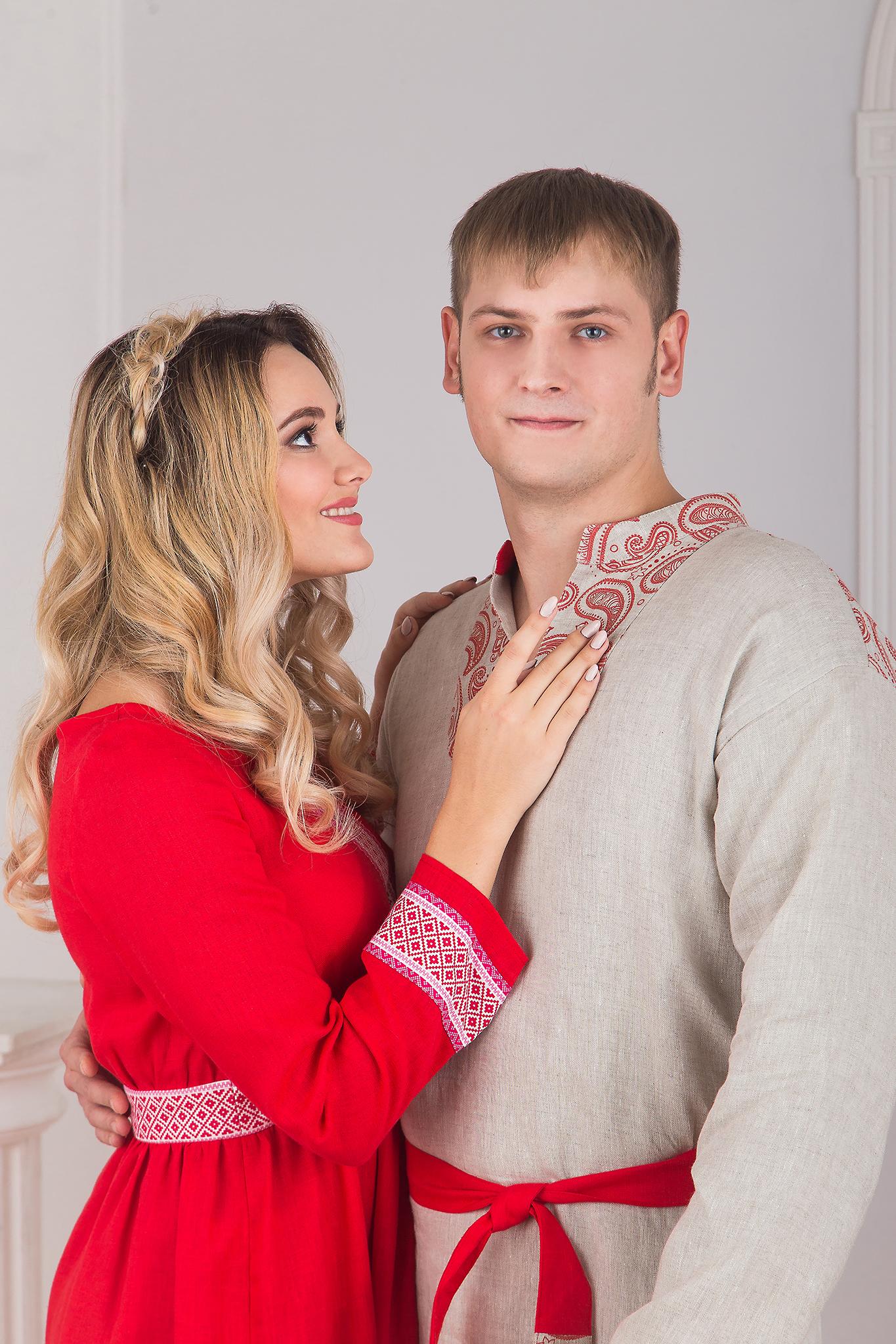 Платье красное Алатырь с рукавом с Княжичем