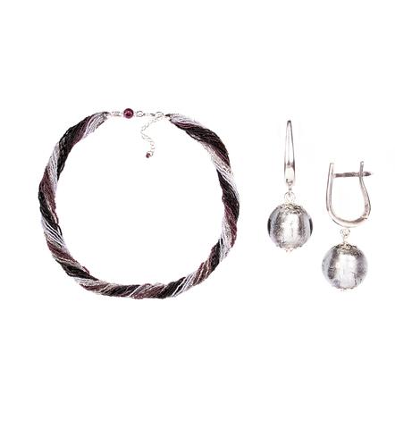 Комплект украшений черно-фиолетовый №1 (серьги-бусины, ожерелье из бисера 24 нити)