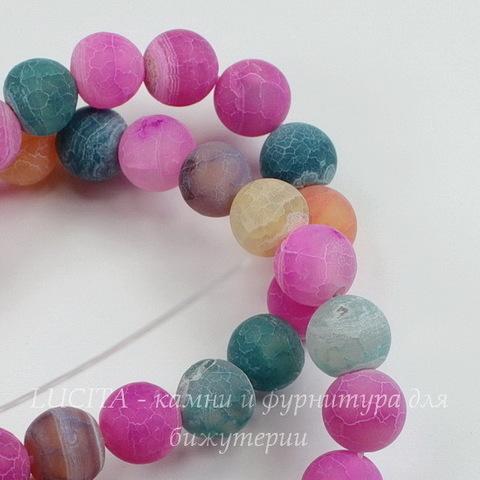 Бусина Агат цветочный матовый (тониров), шарик, цвет - микс, 10 мм, нить