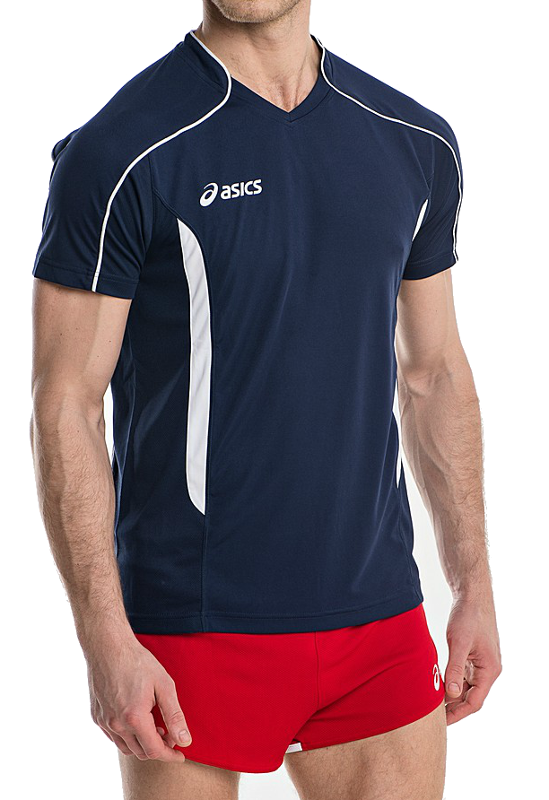Мужская волейбольная футболка Asics T-shirt Volo (T604Z1 5001) темно-синяя фото