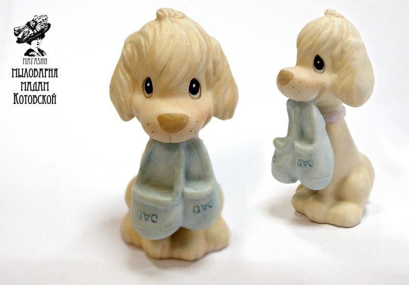Щенок с тапками 3D, форма силиконовая