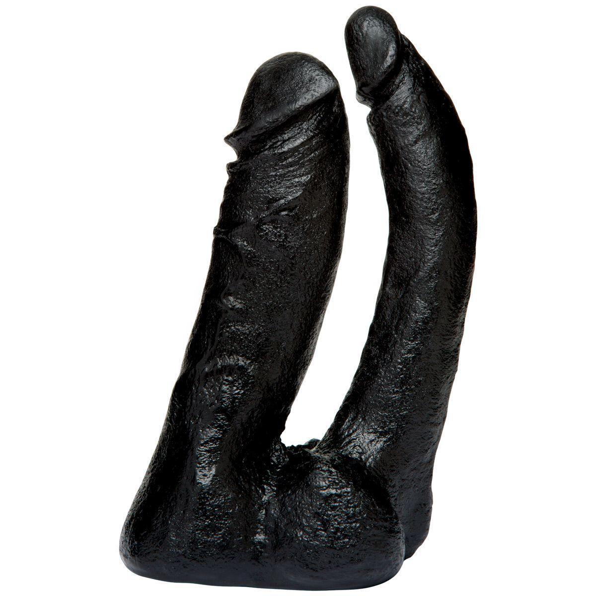 Трусики и насадки: Черная насадка-фаллоимитатор для двойной стимуляции Double Penetrator - 16 см.
