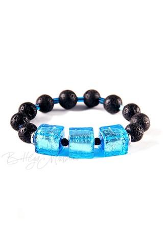 Браслет Murano Flex Cubo черно-голубой