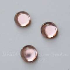 Кабошон круглый Чешское стекло, цвет - розовый, 7 мм