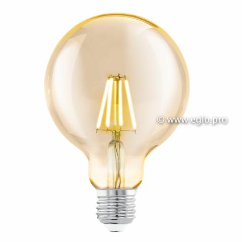 Лампа LED филаментная из стекла янтарного цвета Eglo AMBER LM-LED-E27 4W 330Lm 2200K G95 11522