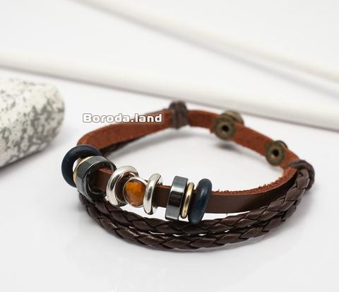 BL281 Мужской браслет из натуральной кожи со вставкой из камня