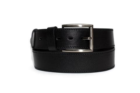 Мужской ремень из натуральной кожи Doublecity RD45-02-01 с одинарной отделочной строчкой  и металлической пряжкой  цвет черный