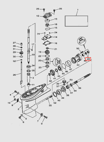 Сальник гребного вала для лодочного мотора T40 Sea-PRO (23-49)