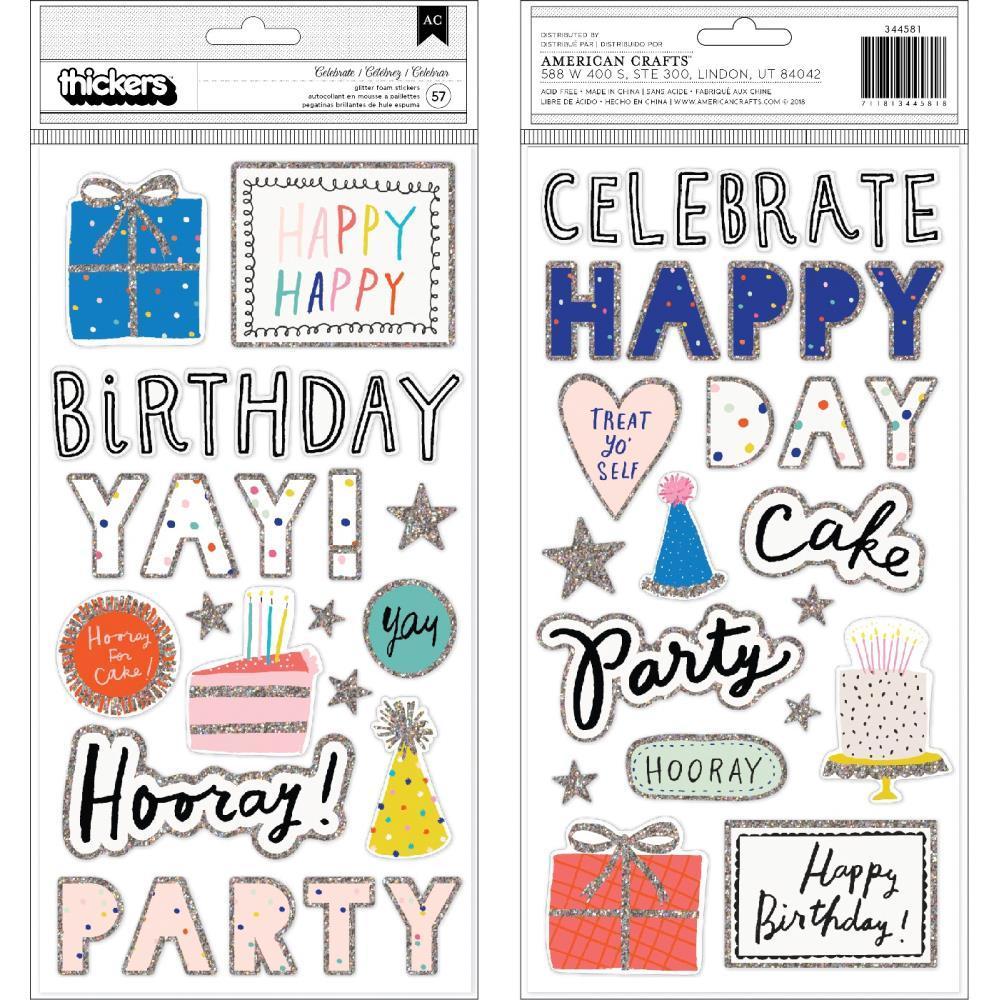Объемные стикеры 15х30 см  Hooray Thickers Stickers -Words & Icons/Foam W/Glitter Accents -57 шт