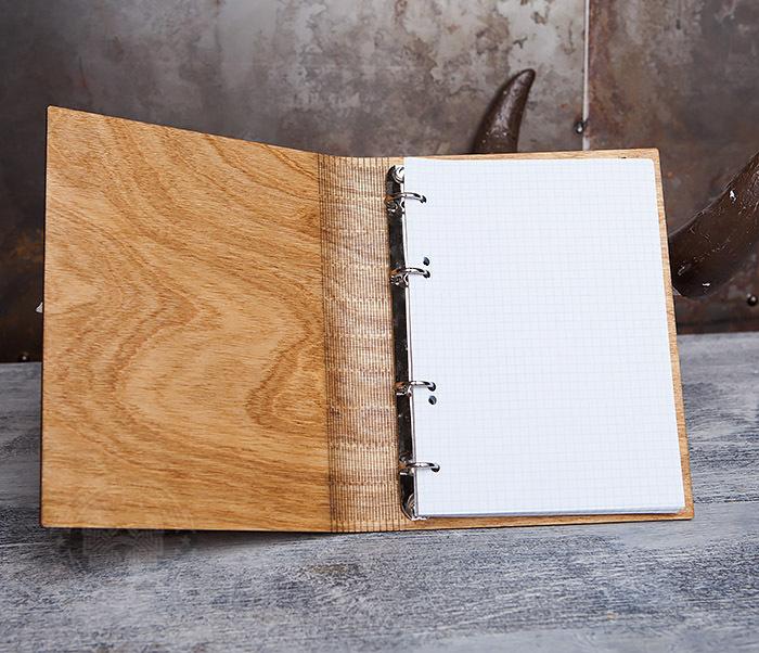BC133-3 Деревянный блокнот ручной работы со сменным блоком фото 06