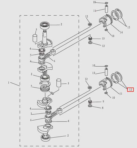 Кольца поршневые (комплект) для лодочного мотора T9.8 Sea-PRO (3-12)