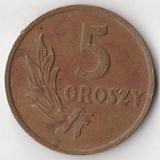 K7506, 1949, Польша, 5 грошей бронза