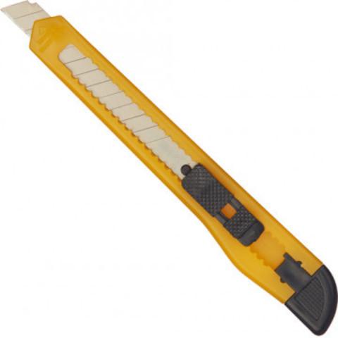 Нож канцелярский 9 мм с фиксатором, полибег, цв.в ассортименте