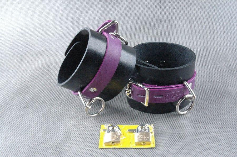 Наручники, ошейники: Чёрно-фиолетовые не подшитые наножники