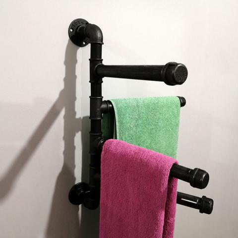 Настенная вешалка для полотенец и одежды в индустриальном стиле, лофт