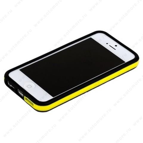 Бампер для iPhone SE/ 5s/ 5C/ 5 черный с желтой полосой